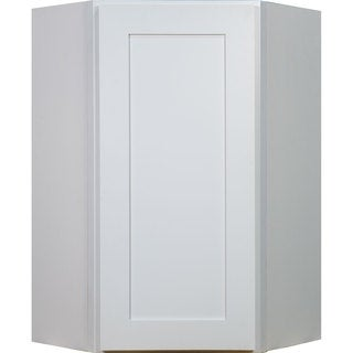 Everyday Cabinets 27-inch White Shaker Diagonal Corner Wall Kitchen Cabinet