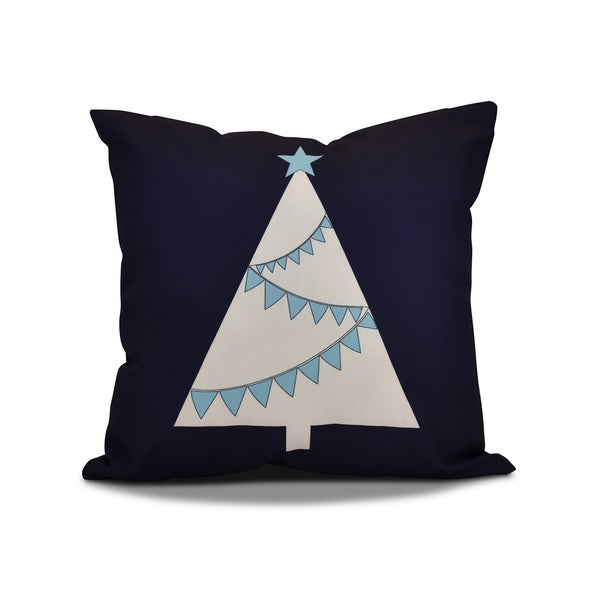 16 x 16-inch, Garland Tree, Geometric Holiday Print Pillow