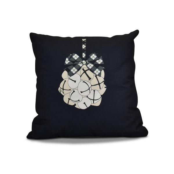 16 x 16-inch, Jingle Bells, Geometric Holiday Print Pillow