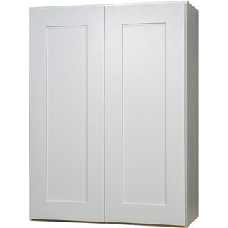 Everyday Cabinets 27-inch White Shaker Double Door Wall Kitchen Cabinet