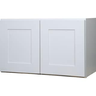 Everyday Cabinets 30-inch White Shaker Double Door Bridge Wall Kitchen Cabinet