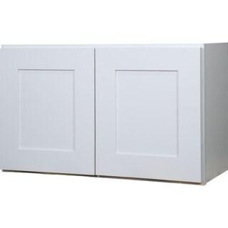 Everyday Cabinets 30-inch White Shaker Double Door Bridge Wall Kitchen Cabinet