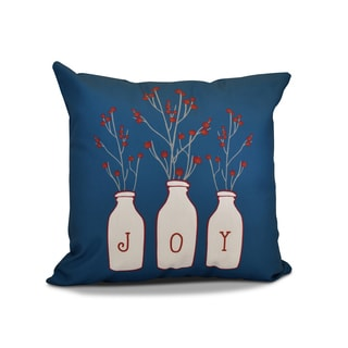 16 x 16-inch, Joy, Floral Holiday Print Pillow
