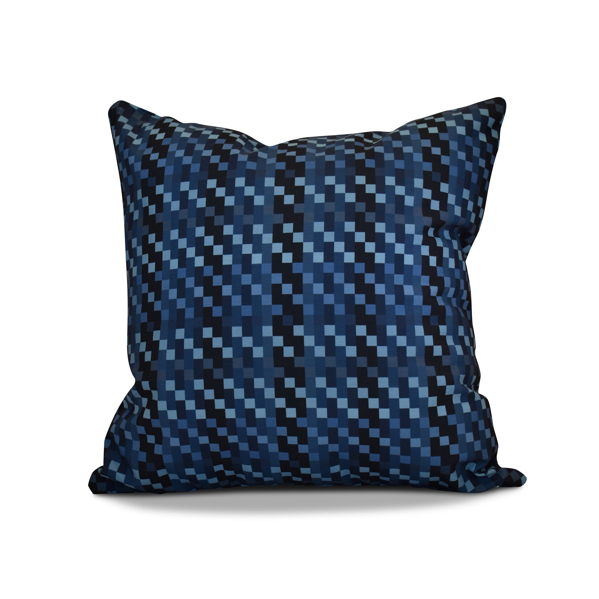 16 x 16-inch, Mad for Plaid, Geometric Print Outdoor Pillow (Purple)