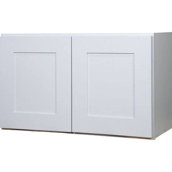 Everyday cabinets 36 inch white shaker double door bridge for Kitchen cabinets 36 inch