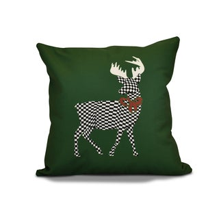 16 x 16-inch, Merry Deer, Animal Holiday Print Outdoor Pillow