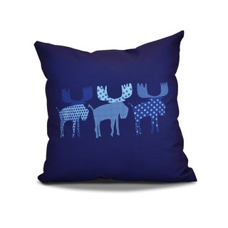 16 x 16-inch, Merry Moose, Animal Holiday Print Outdoor Pillow