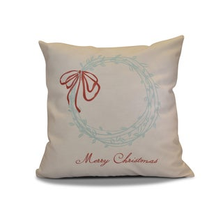 16 x 16-inch, Merry Wishes , Word Holiday Print Outdoor Pillow