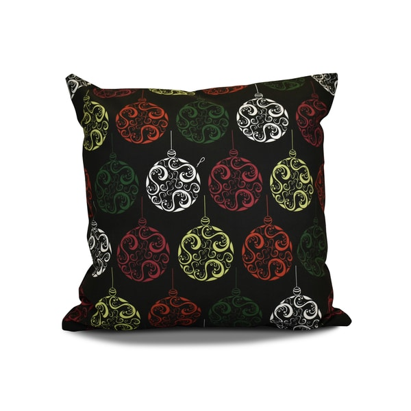 16 x 16-inch, Painterly Bulbs, Geometric Holiday Print Pillow