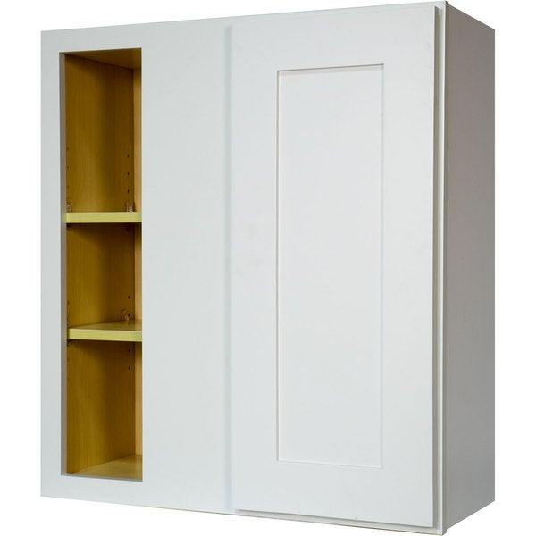 Everyday Cabinets 27-inch White Shaker Blind Corner Wall Kitchen Cabinet. Opens flyout.