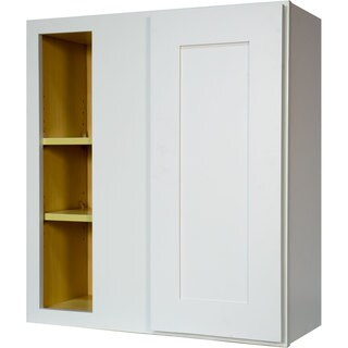 Everyday Cabinets 27-inch White Shaker Blind Corner Wall Kitchen Cabinet