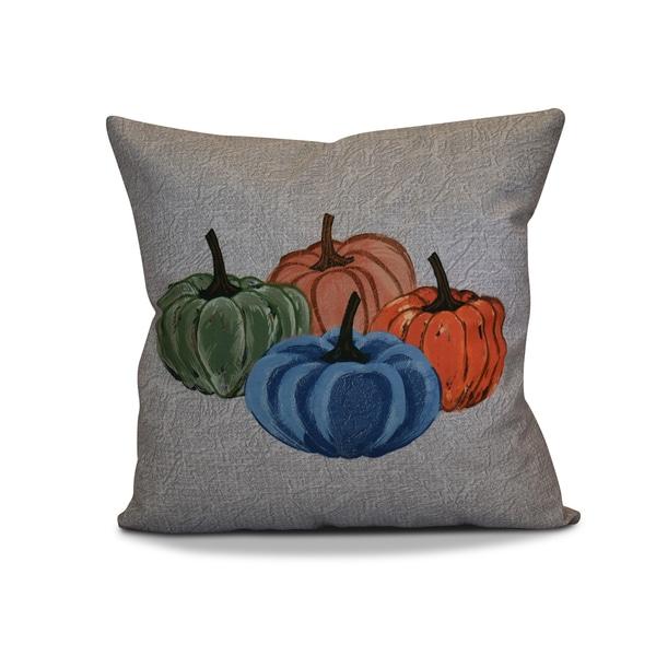 16 x 16-inch, Paper Mâché Pumpkins, Geometric Print Outdoor Pillow