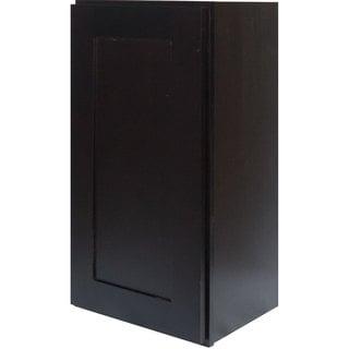 Everyday Cabinets 18-inch Dark Espresso Shaker Single Door Wall Cabinet