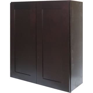 Everyday Cabinets 24-inch Dark Espresso Shaker Double Door Wall Cabinet