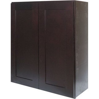 Everyday Cabinets 33-inch Dark Espresso Shaker Double Door Wall Cabinet