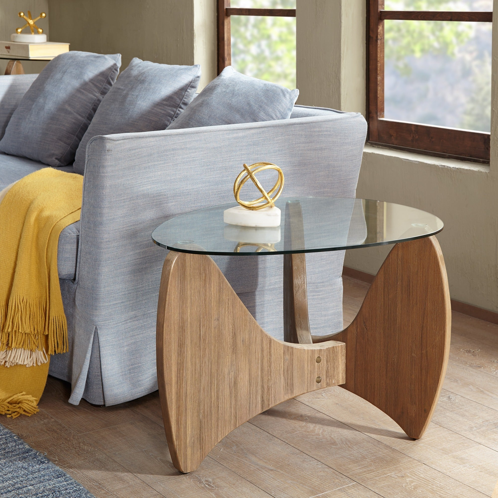 Madison Park Abel Natural Glass Top End Table (W30 x D24 ...