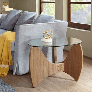 Madison Park Abel Natural Glass Top End Table