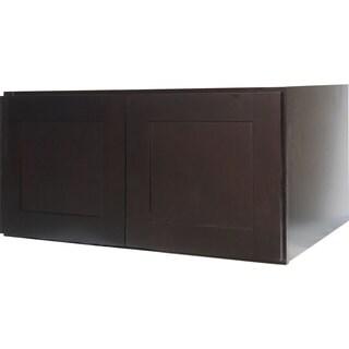 Everyday Cabinets 30-inch Dark Espresso Shaker Double Door Bridge Wall Cabinet