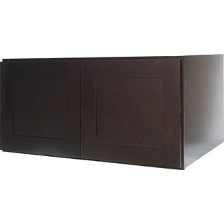 Everyday Cabinets 30-inch Dark Espresso Shaker Double Door Bridge Wall Cabinet