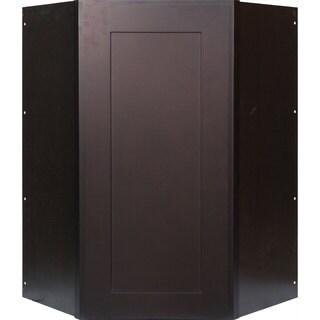 Everyday Cabinets 24-inch Dark Espresso Shaker Diagonal Corner Wall Cabinet
