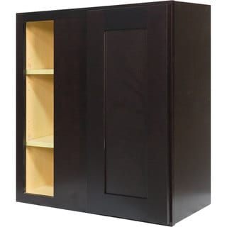 Everyday Cabinets 27-inch Dark Espresso Shaker Blind Corner Wall Cabinet