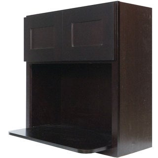 Everyday Cabinets 30-inch Dark Espresso Shaker Microwave Wall Cabinet