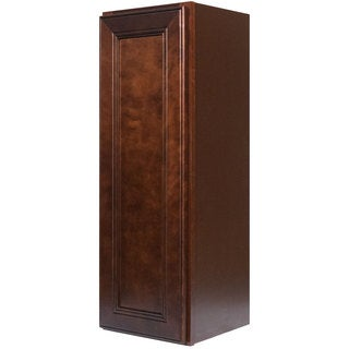 Everyday Cabinets 15-inch Cherry Mahogany Brown Leo Saddle Single Door Wall Kitchen Cabinet
