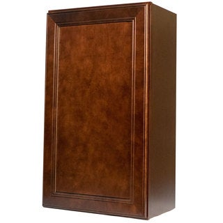Everyday Cabinets 18-inch Cherry Mahogany Brown Leo Saddle Single Door Wall Kitchen Cabinet