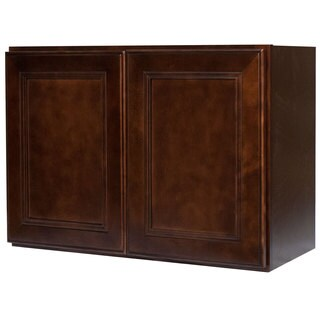 Everyday Cabinets 36-inch Cherry Mahogany Brown Leo Saddle Double Door Bridge Wall Kitchen Cabinet