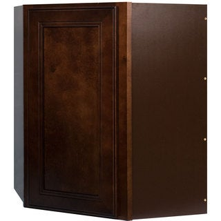 Everyday Cabinets 27-inch Cherry Mahogany Brown Leo Saddle Diagonal Corner Wall Kitchen Cabinet
