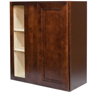 Everyday Cabinets 27-inch Cherry Mahogany Brown Leo Saddle Blind Corner Wall Kitchen Cabinet