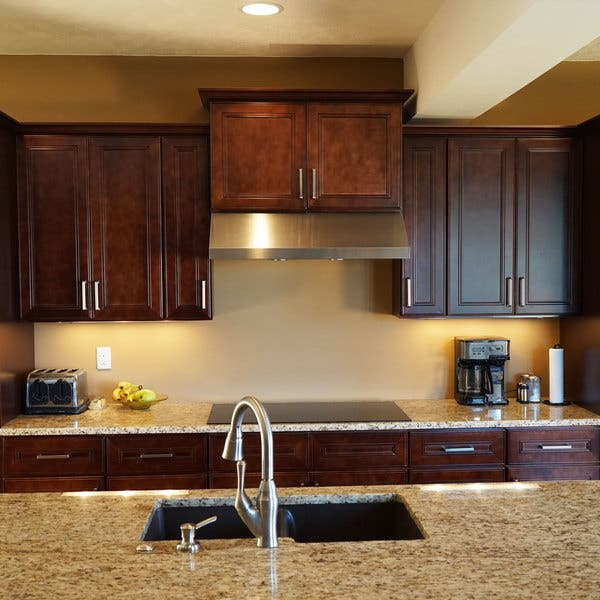 Everyday Cabinets 24 Inch Cherry Mahogany Brown Leo Saddle Appliance Garage Wall Kitchen Cabinet Overstock 12315059