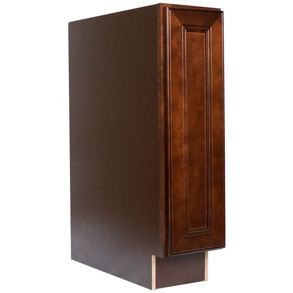 Everyday Cabinets 9 Inch Cherry Mahogany Brown Leo Saddle Full Height Door Base Kitchen Cabinet