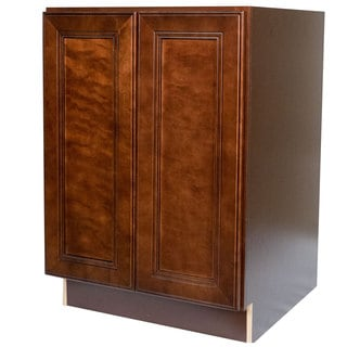 Everyday Cabinets 24-inch Cherry Mahogany Brown Leo Saddle Full Height Door Base Kitchen Cabinet