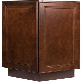 Everyday Cabinets 24-inch Cherry Mahogany Brown Leo Saddle End Angle Base Kitchen Cabinet