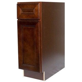 Everyday Cabinets 15-inch Cherry Mahogany Brown Leo Saddle Base Kitchen Cabinet