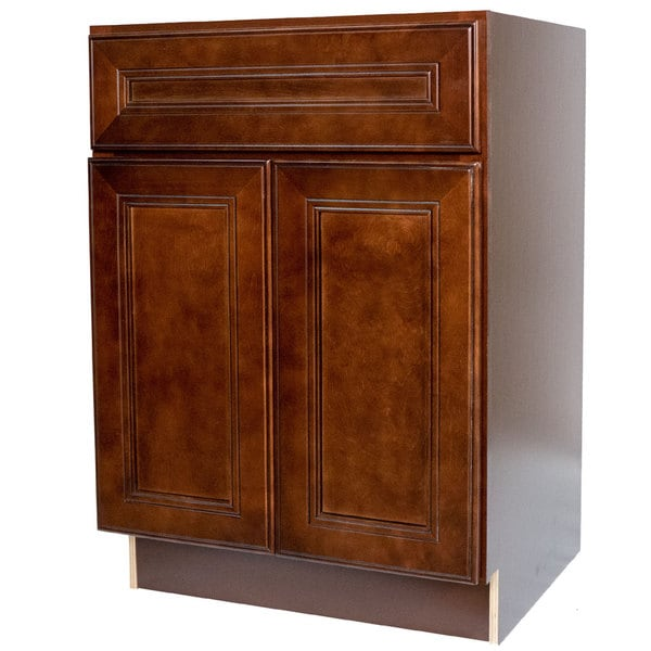 Everyday Cabinets 27 Inch Cherry Mahogany Brown Leo Saddle Base Kitchen Cabinet