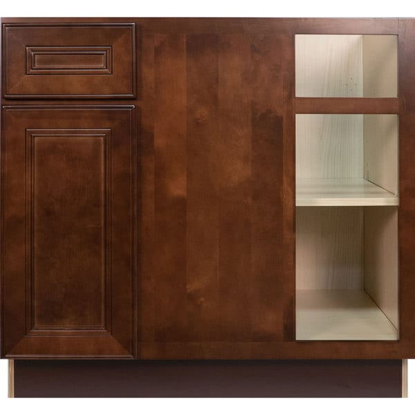 Charmant Everyday Cabinets 36 Inch Cherry Mahogany Brown Leo Saddle Blind Corner  Base Kitchen Cabinet Right
