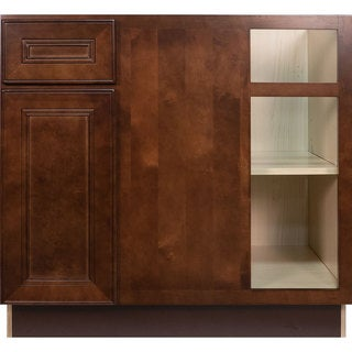 Everyday Cabinets 36-inch Cherry Mahogany Brown Leo Saddle Blind Corner Base Kitchen Cabinet Right