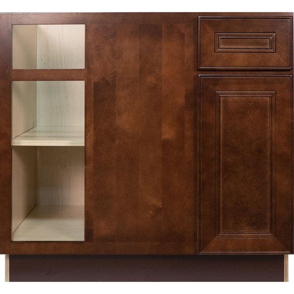 everyday cabinets 42 inch cherry mahogany brown leo saddle blind corner base kitchen cabinet left   free shipping today   overstock com   19148657 everyday cabinets 42 inch cherry mahogany brown leo saddle blind      rh   overstock com