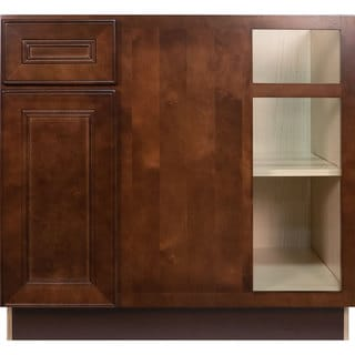 Everyday Cabinets 42-inch Cherry Mahogany Brown Leo Saddle Blind Corner Base Kitchen Cabinet Right