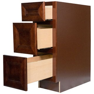 Everyday Cabinets 18-inch Cherry Mahogany Brown Leo Saddle 3 Drawer Base Kitchen Cabinet