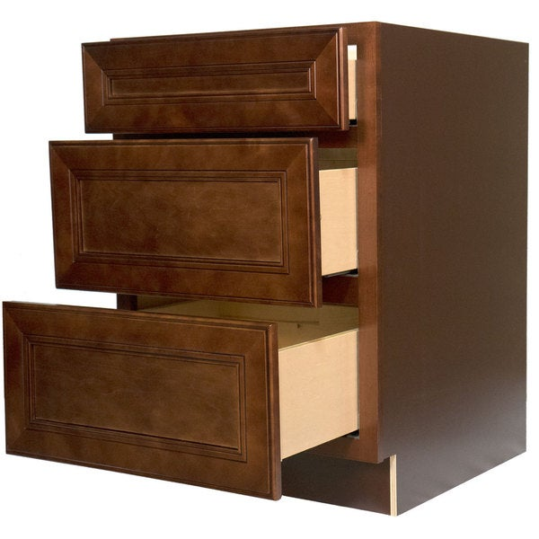 Ordinaire Everyday Cabinets 36 Inch Cherry Mahogany Brown Leo Saddle 3 Drawer Base  Kitchen Cabinet