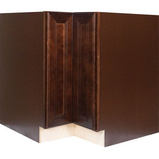 Everyday Cabinets 33-inch Cherry Mahogany Brown Leo Saddle Lazy Susan Base Kitchen Cabinet