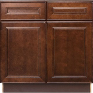 Everyday Cabinets 36-inch Cherry Mahogany Brown Leo Saddle Sink Base Kitchen Cabinet