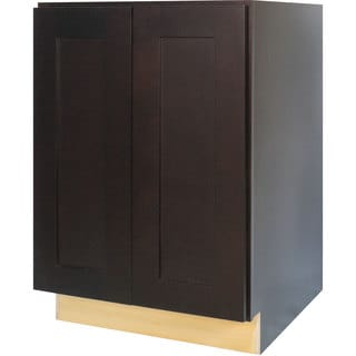 Everyday Cabinets 24-inch Dark Espresso Shaker Full Height Door Base Kitchen Cabinet