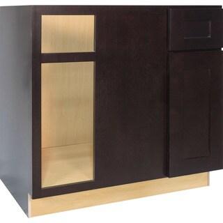 Everyday Cabinets 36-inch Dark Espresso Shaker Blind Corner Base Kitchen Cabinet Right