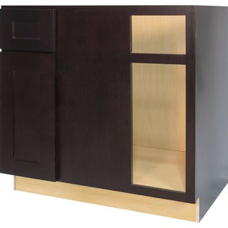 Everyday Cabinets 42-inch Dark Espresso Shaker Blind Corner Base Kitchen Cabinet Left