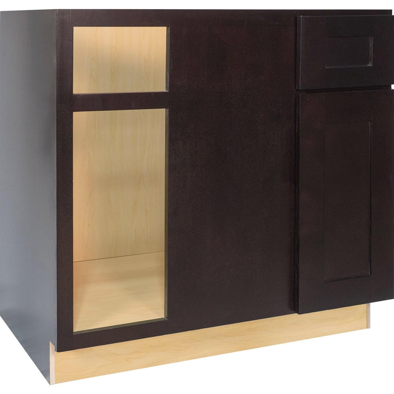 Blind Corner Kitchen Cabinet: Everyday Cabinets 42-inch Dark Espresso Shaker Blind