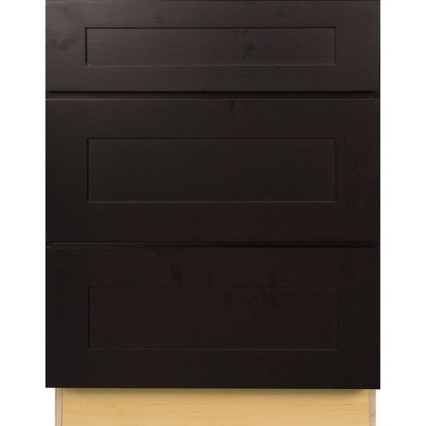 24 inch kitchen base cabinet everyday cabinets 24 inch espresso shaker 3 drawer 7300